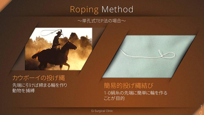 Roping method 単孔式TEP法の場合